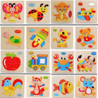 (E) Cartoon Animal Mini Wooden Block Puzzle Educational Toy
