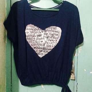 Navy Blue Heart Top 💙