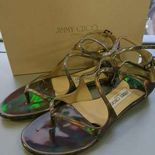 Jimmy Choo Leja Holographic Leather Sandals 幻彩閃皮涼鞋