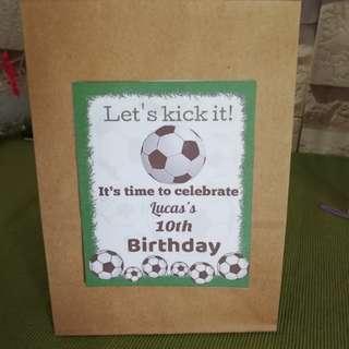 Soccer birthday theme goodie bag