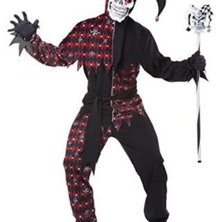 Scary jester halloween costume