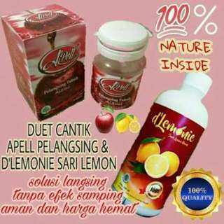 De Lemoni Paket 1 Liter (2 Botol) & Bonus Apel Kapsul Pelangsing