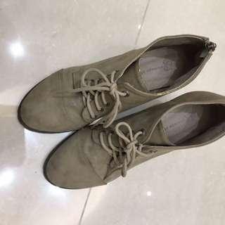 韓國裸色高跟踝靴