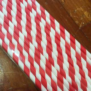 Red & White Striped Paper/Cardboard Straws