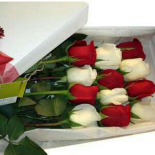 12 stalks Mix White and Red Roses in gifts box - 0026