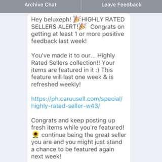 Highly rated seller for the third time!!! Thank you again carousell