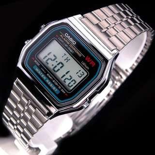 Casio Vintage Watch * A159W-N1 Classic Digital Silver Steel