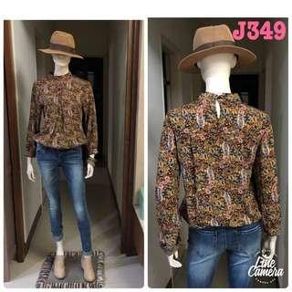 J349韓版變形蟲咖啡色系上衣氣質文青小清新學院上學上班森女 blouse J-Lounge