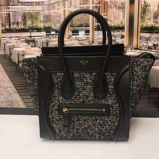 Celine Mirco Wool Luggage Handbag