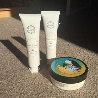 Laline Cherry Blossom And Manoi Hand Creams & The Body Shop Pina Colada Tropical Coconut Pineapple Body Butter
