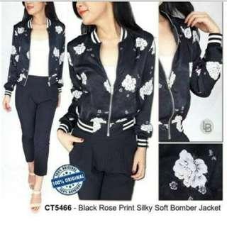 Chorma Rose Print Silky Soft Bomber Jacket