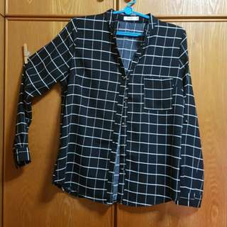 TEMT Grid Black Blouse