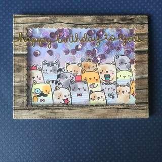 Cats. Birthday Shaker card