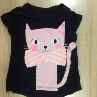 Cotton On cute cat shirt size 1