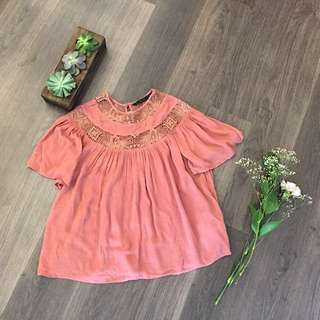 Zara Flowy And Lace Summer Top