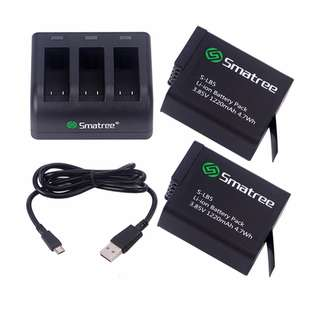 Smatree 2 Battery and 3-Channel charger + USB Cord for GoPro Hero 6 Black