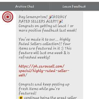 Wow! Highly Rated Seller!!! Thank you, Carousell! 💪💕😆