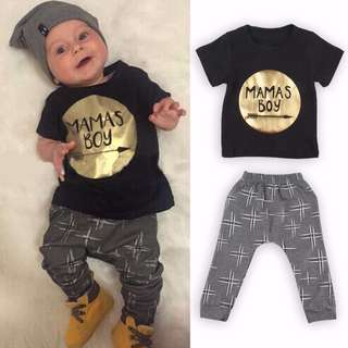Mama's Boy Two Piece Short Sleeve T-Shirt Tee + Long Pants Outfit Set 0 - 36 Months 2T 3T Boys baby infant toddler 100% cotton black gold grey white brand new instocks ready stocks (hm kids mango zara cotton on mothercare disney ins swag style)
