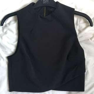 new look black crop zip top