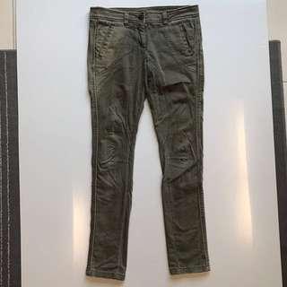 TOPSHOP LONG PANTS ASH GREEN WASHED Women