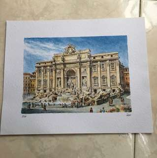 European water color drawing - 9.5 x 12 inches