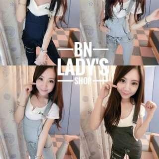 韓國 彈性 拉鍊 棉質 吊帶褲