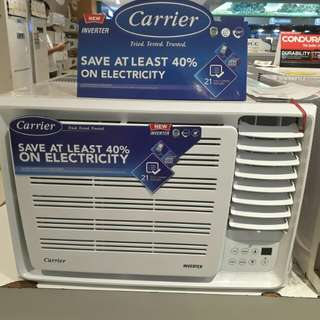 Brandnew Carrier Window Type Aircon Inverter and Non-Inverter & Smart Cool Invertrr