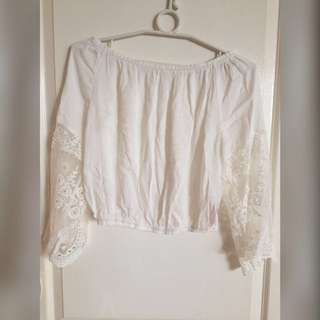 Off shoulder top with lacy sleeves