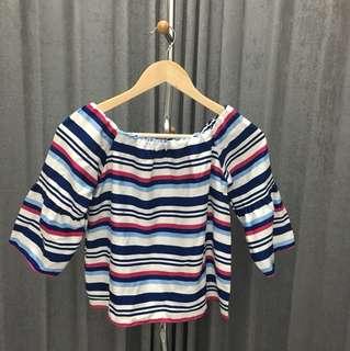 Stripe sabrina blouse (all size)