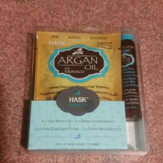 Hask argan oil 1 x hair shine oil , 2 x deep conditioners