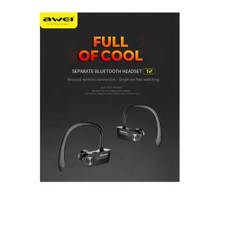 Ear Buds Clip Waterproof IPX4 Sup[er Quality Bass Sound Awei T2 Wireless Earpiece Earphone Headset No Wires Needed
