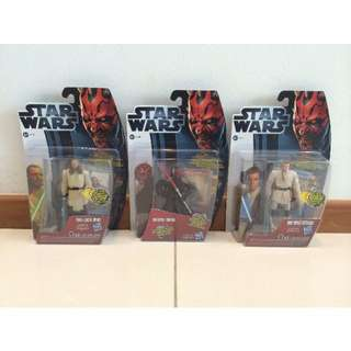 Star Wars 3 X Movie Heroes Darth Maul Qui-Gon Jinn & Obi-Wan (No light up light saber)