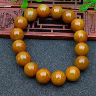 天然A貨翡翠 - 極品紅翡手鍊(16顆)