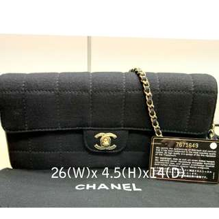 Chanel 經典 Square Quilted Fabric/Leather Flap Shoulder Bag 100%真品