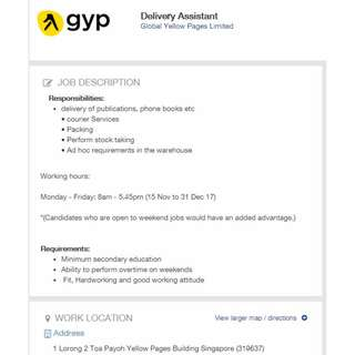 Temp Delivery Assistant $7/hr Mon to Fri