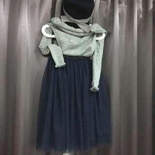 全新日本東京購入-深藍色紡紗裙