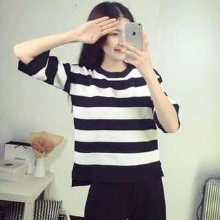 🚚 黑白條紋雪紡t恤
