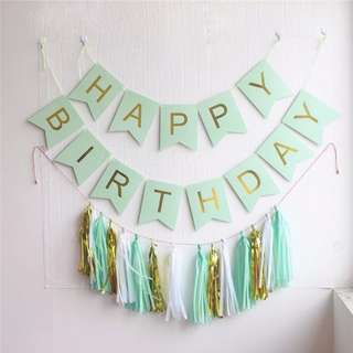 BN Mint Green Banner and Tassels