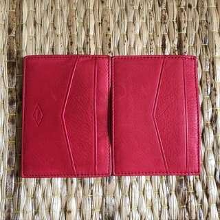 FOSSIL 雙面開的名片夾 卡夾 皮件 全新 禮品 紅色