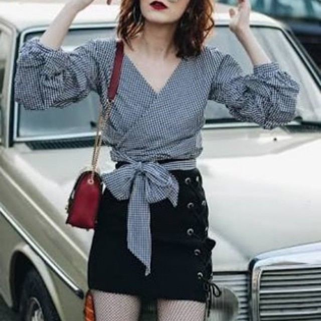 3/4 Sleeves Wrap Top and Lace Up Skirt