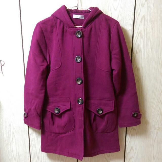 暗紫色厚棉外套