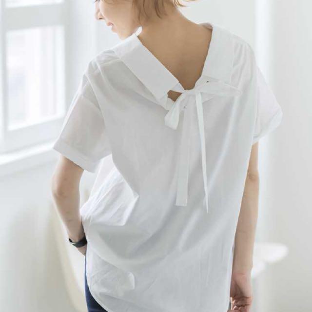 白色蝴蝶結性感襯衫