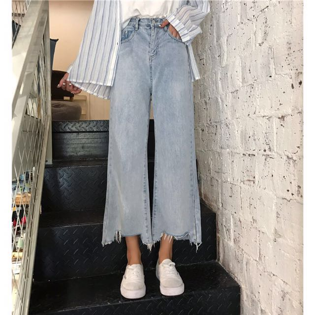 預購 韓版高腰淺色直筒褲