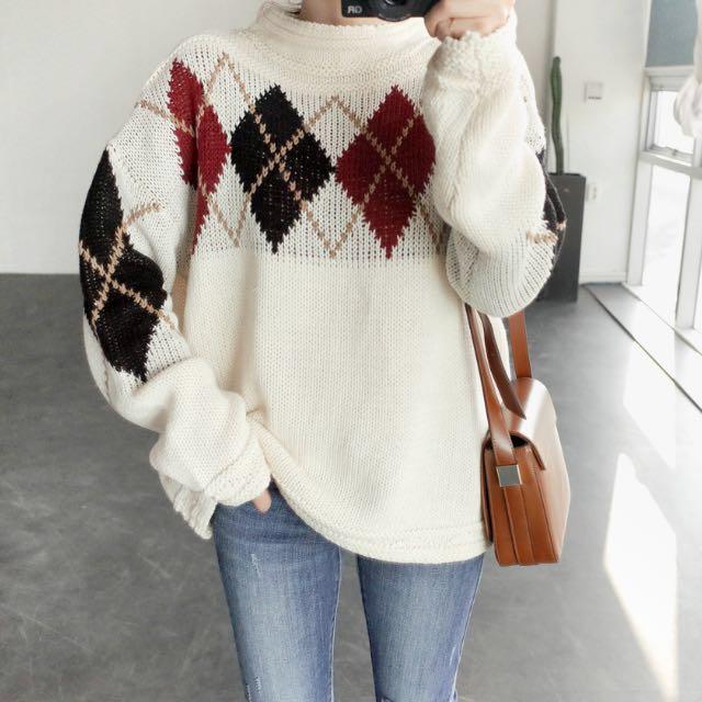 正韓針織毛衣 菱格紋 學院風 寬鬆 舒適 英倫 休閒 韓國 空運 #幫你省運費