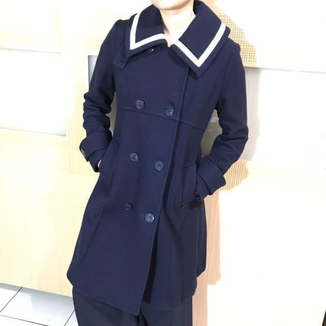 日本製 Emily Temple Cute 西裝毛呢長版外套 深藍 M。#外套特賣