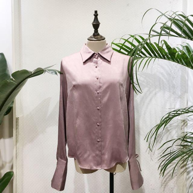 售 Jincha韓國代購 時髦緞面袖綁繩襯衫 藕粉色 正韓