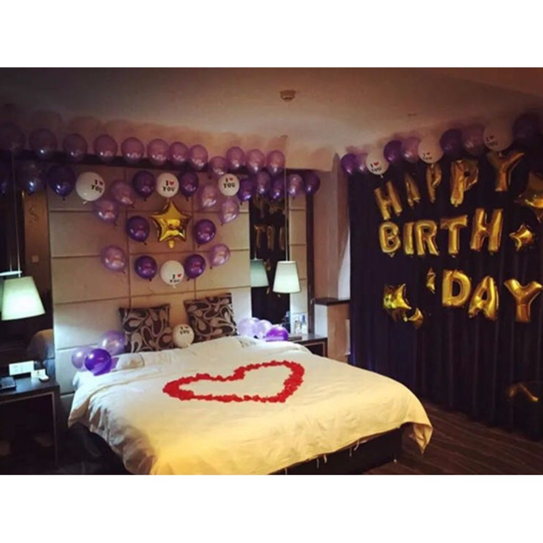 A9 Happy Birthday Romantic Purple Party Decor Theme Set Everything Else On Carousell