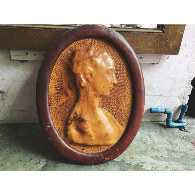 Antique Leather Cameo Wall Decor