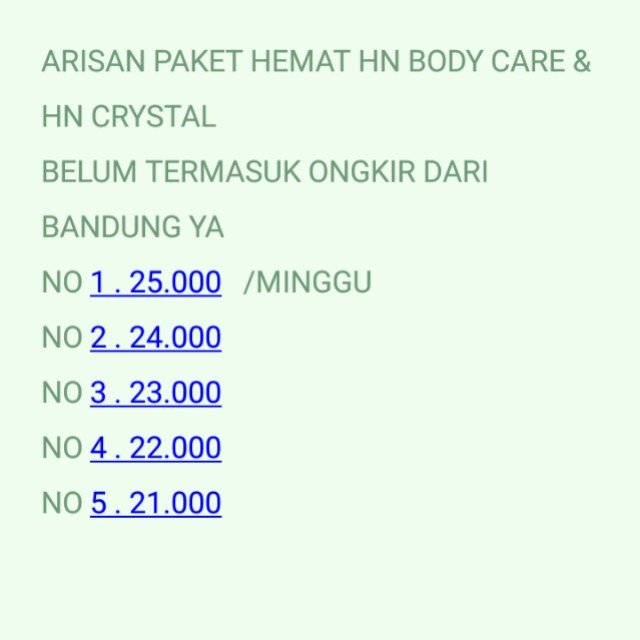 ARISAN PAKET HEMAT HN BODY CARE & HN CRYSTAL