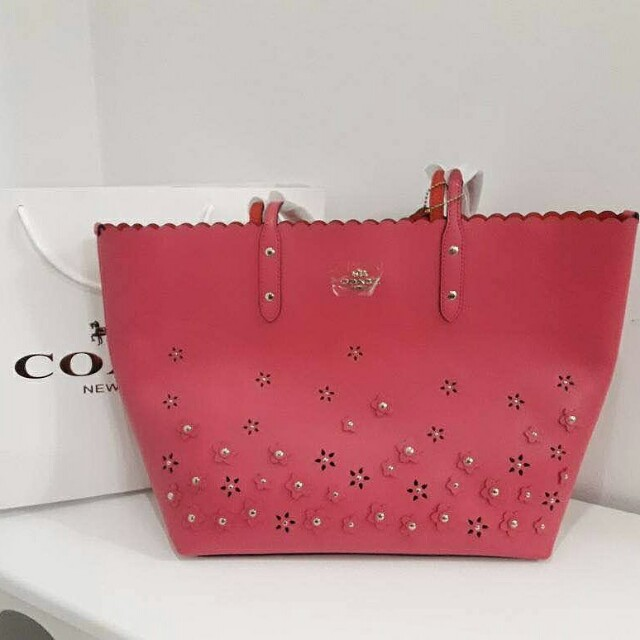 AUTHENTIC COACH CITY TOTE WITH FLORAL APPLIQUE LEATHER